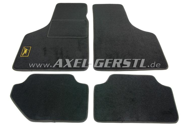 Fußmattensatz 'LUISI-Action Stop', schwarz mit schwarzem Rand, 4-teilig  Fiat 500 bis '75 / 600 / 126