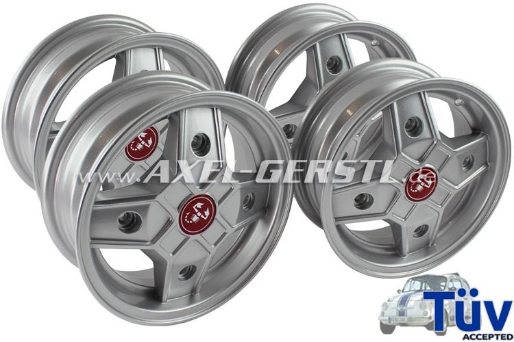 Alufelgen-Satz 4,5 x 12 'CD30-Design', ET 27 mm (4 St.) Fiat 500 / 126 1.Serie