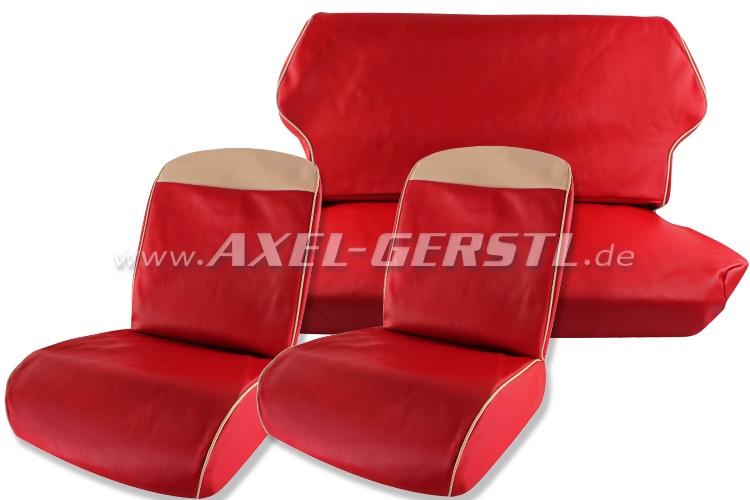 Sitzbezüge rot/wß. Oberkante, Kunstleder kpl. vo. & hi. Fiat 500 F