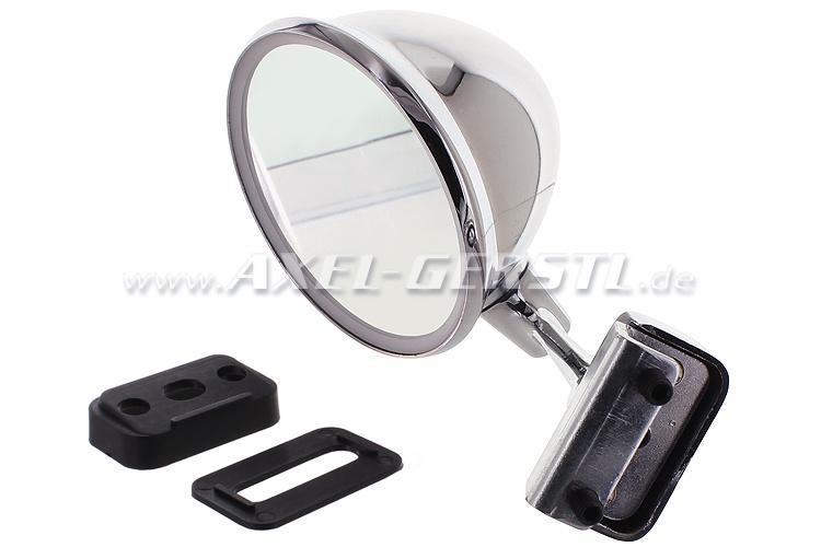 Seitenspiegel, Türfalzmontage chrom, rund/bauchig, re. / li. Fiat 500 F/L/R