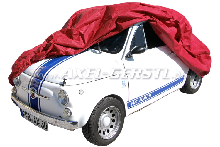 Car cover 'Puff' with fleece, red Fiat 500/126