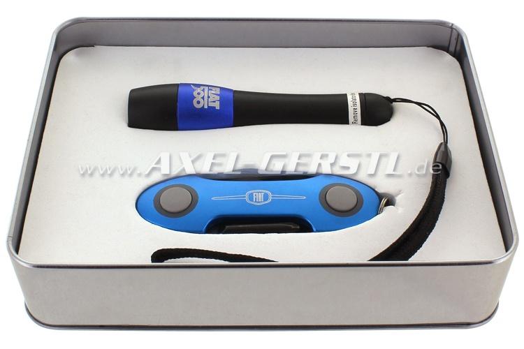 Taschenlampen-/Taschenmesser-Set (Farbe blau) in Geschenkbox