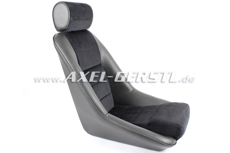 Bucket seat with headrest, black, fabric