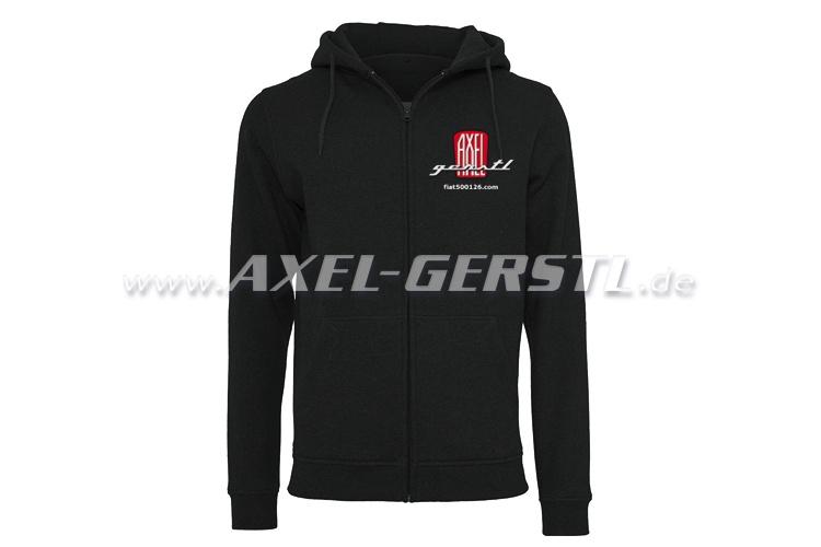 Hoodie jacket Axel Gerstl Classic Logo, black, size XL