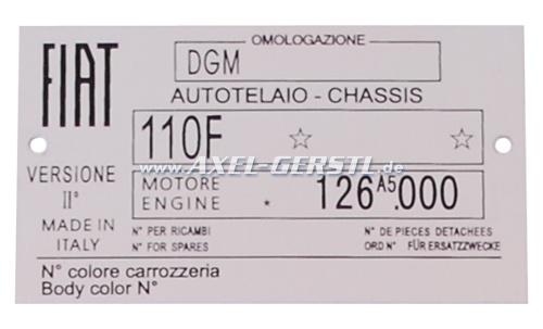 Targhetta identificativa FIAT 110 F in alluminio