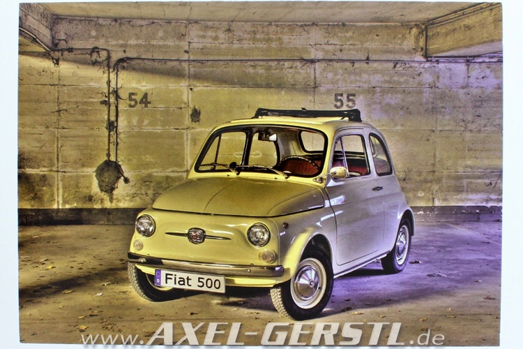 Cartolina Fiat 500 nel garage (148 x 105 mm)