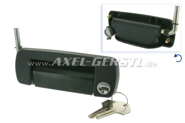 Door-handle/lock, right, black with cylinder & keys