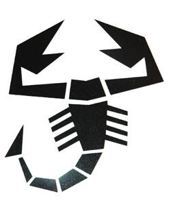 Aufkleber Abarth/Skorpion 85 x 90 mm, schwarz