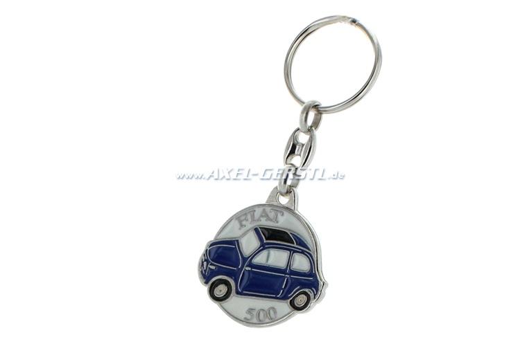 Key fob Fiat 500, metal, round, white/blue