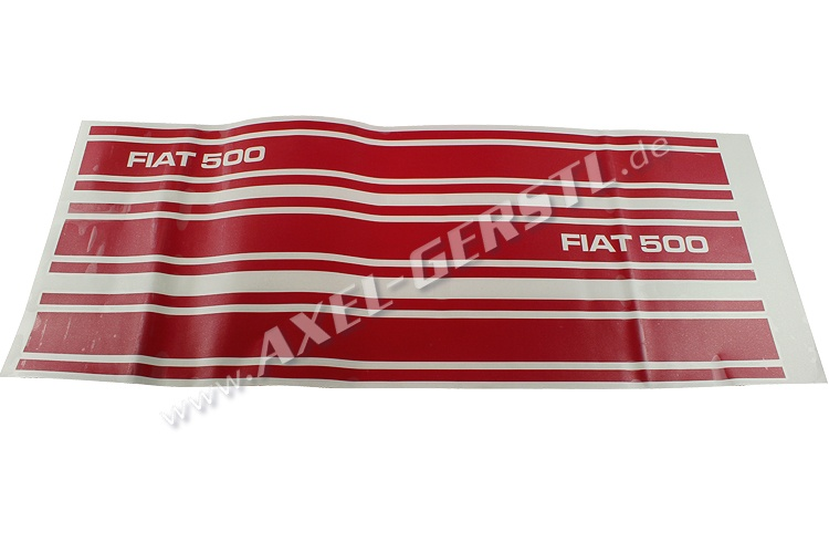 Set of 3 stickers FIAT 500, sideways, RED