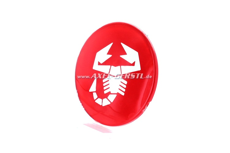 Emblème Abarth scorpion, rouge, rond, pour coller, 60 mm