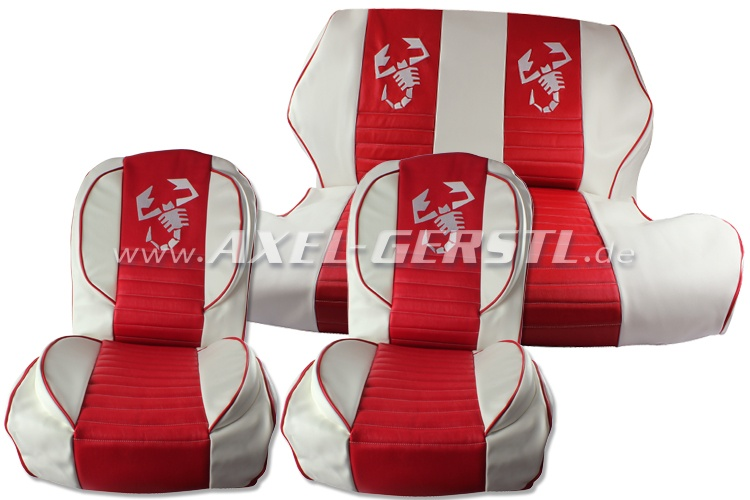Seat covers red/white Scorpione, artificial leather