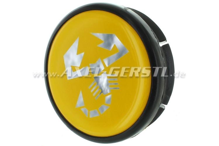 Abarth wheel cover, yellow/Scorpion, 42mm/48mm (rim center)