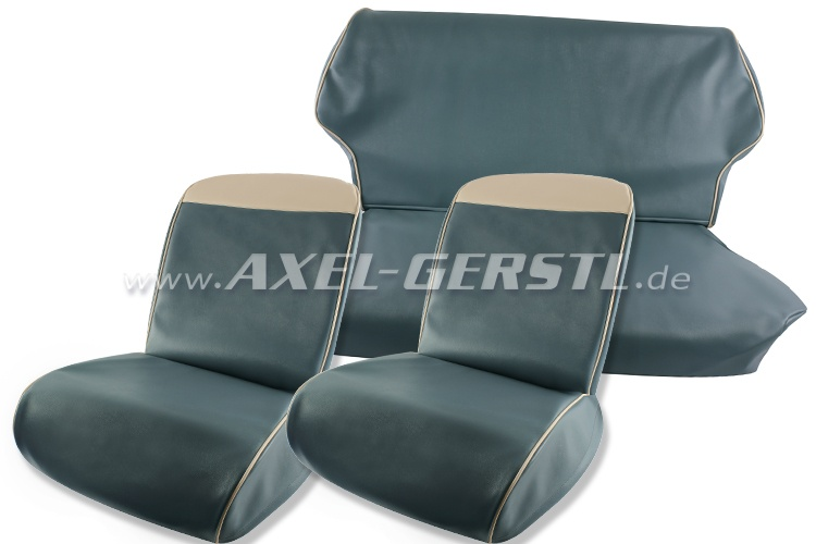 Sitzbezüge hellblau/wß. Oberkante Kunstleder kpl. vo. & hi.