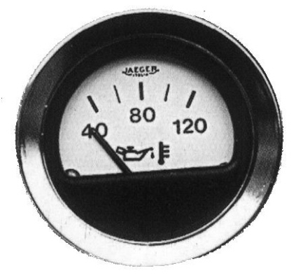 Jaeger oil temperature gauge, white dial