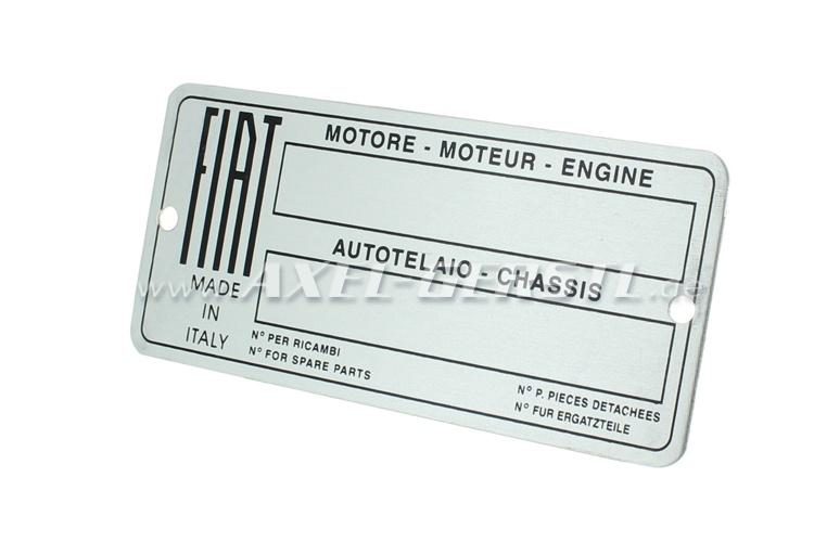 Targhetta identificativa FIAT in alluminio (in bianco)