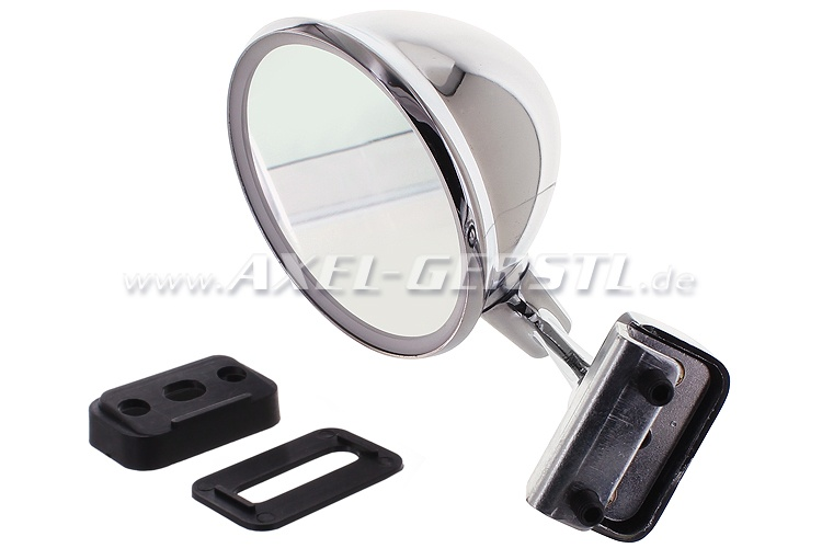 Ext. mirror f. door rabbet mounting, chrome, round
