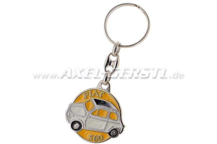 Key fob Fiat 500, metal, round, white/yellow