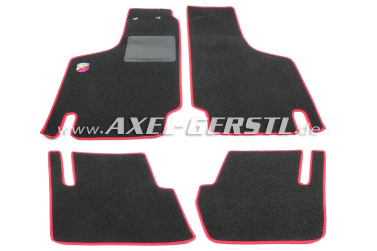Set of foot mats Abarth(red/black)exact fit, w. logo small