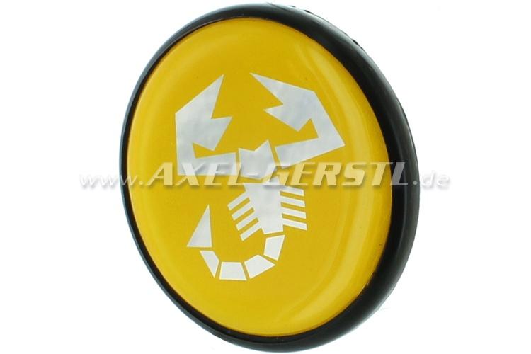 Abarth wheel cover, yellow/Scorpion, 42mm/55 mm (rim center)