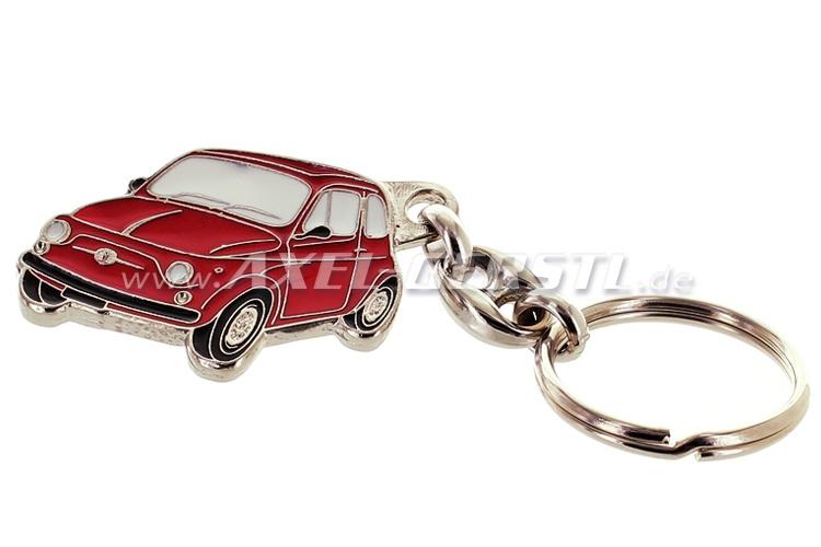 Porte-clés Fiat 500, rouge, métal