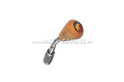 Gear shift knob with knob Abarth, wood/chrome