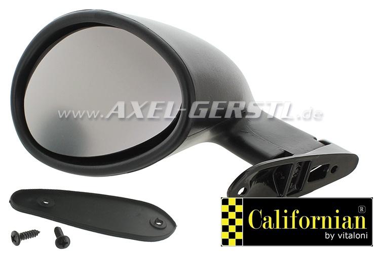 Wing mirror f. door rabbet mounting California l., black