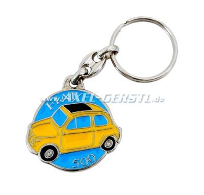 Key fob Fiat 500, metal, round, yellow/blue