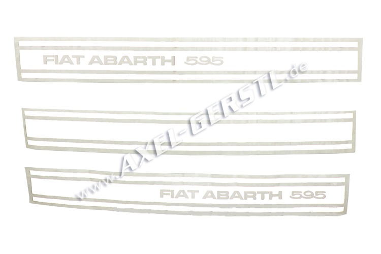 Set of 3 stickers Abarth 595, sideways, white