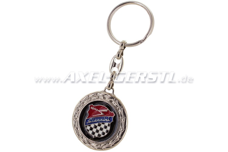 Giannini key fob, round with laurels, metal