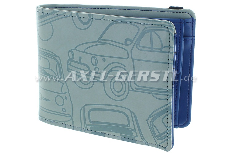 Purse /wallet Fiat 500,imitation leather,12x9cm,grey/blue