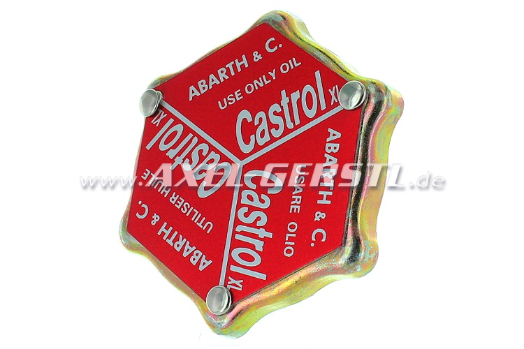 Lid for oil filler nozzle Abarth Castrol (Aluminum-V-lid)