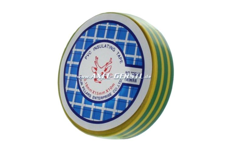 Isolierband - gelb/grün / 0,15 mm x 15 mm x 10 m