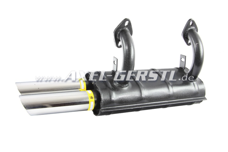 Sport exhaust pipe, double tailspout chrome