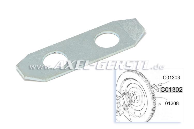 Tab washer for flywheel-retaining screw