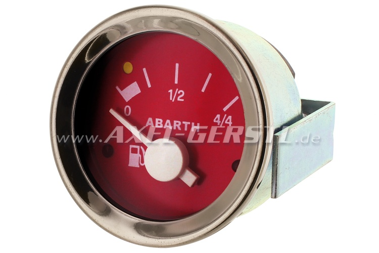 Abarth petrol gauge, 52mm, red dial