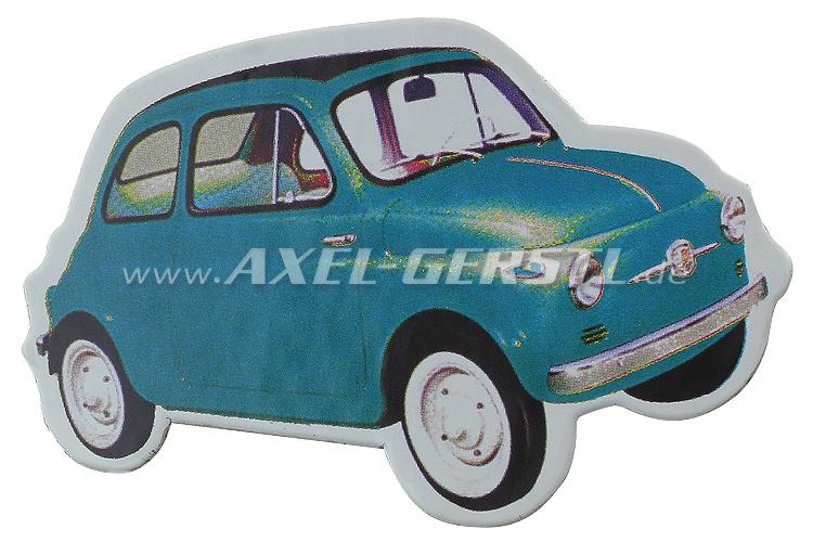Magnet Die-cut, Motiv Fiat 500 seitlich, blau
