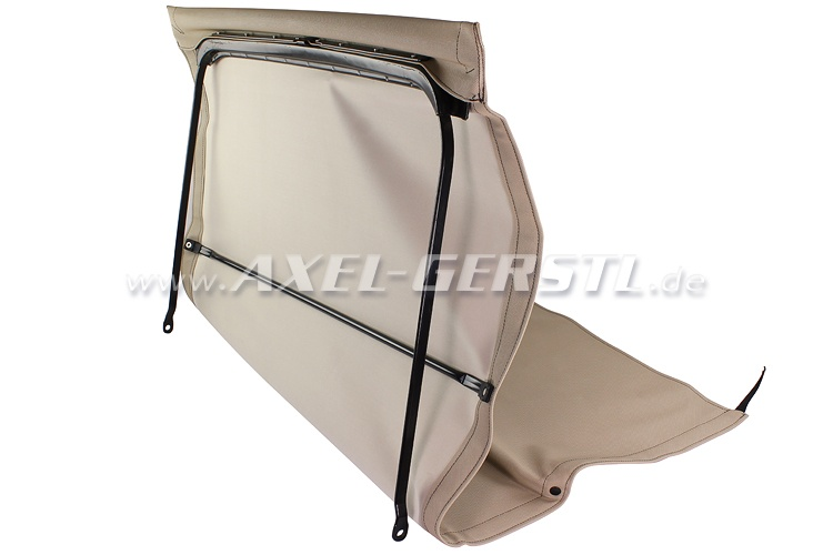 Convertible top w. front bow + middle stick, beige