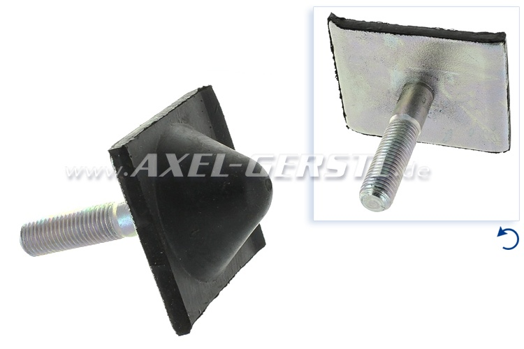 Leaf spring rubber buffer, top center