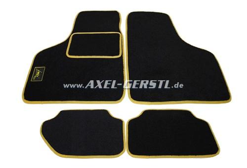 Lot de tapis de sol, noir avec bordure jaune, 4 pièces