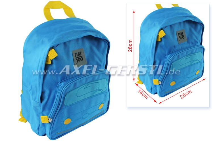 Sac à dos / sac tyrolien pour enfants, motif Fiat 500, bleu
