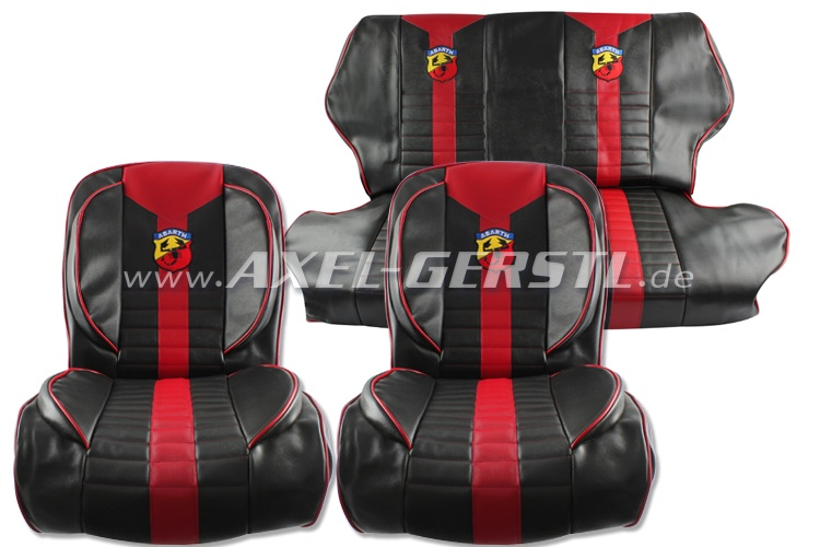 Seat covers red/black Abarth, artificial leather, fr. & ba