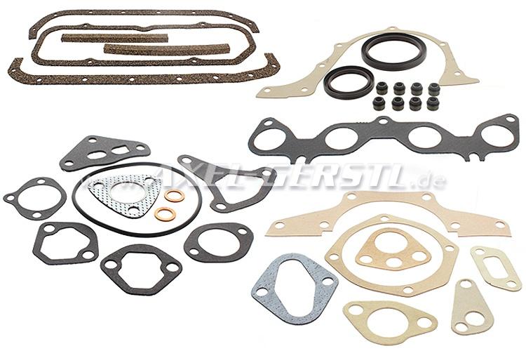 Set of engine gaskets w. radial shaft seals w/o cyl. gasket