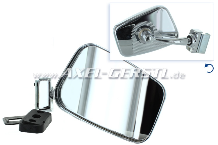 Side mirror right, mountable on door rebate, chrome, angular