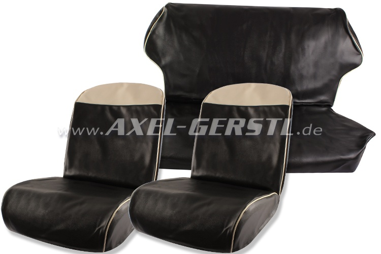 Seat covers, bl./wh. top edge, artificial leather fr. & ba.