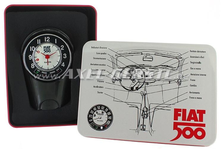 Réveil boîte du tachymètre Fiat 500 (8x12,5x6cm), noir