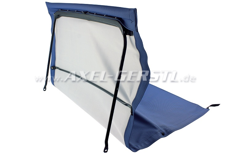 Convertible top w. front bow + middle stick, blue