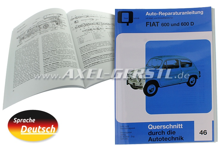 Auto repair manual for Fiat 600/600D, 72 pages (german)