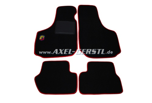 Set of foot mats (black/red) with small Abarth logo