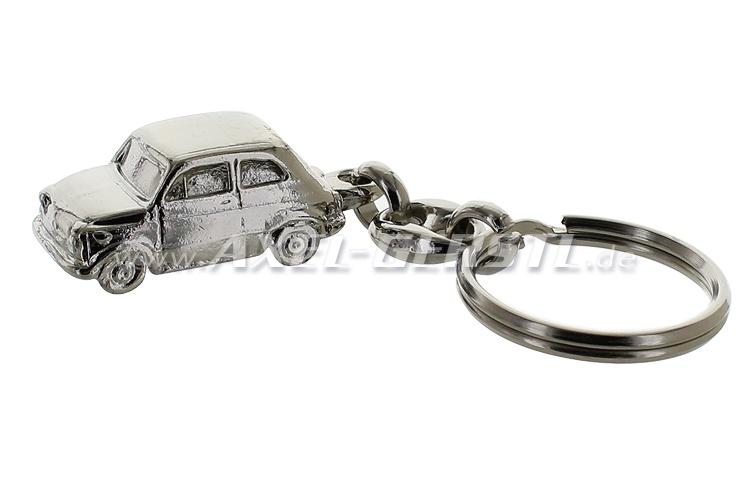 Fiat 500 keychain, silver, 1:87